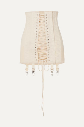 Orseund Iris Gamine Lace-up Cotton-twill Mini Skirt - Cream