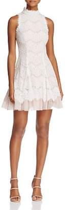 Aqua Lace Mock Neck Dress - 100% Exclusive