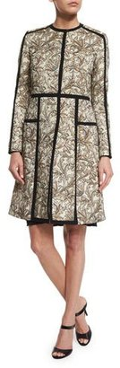 Etro Long-Sleeve Floral-Print Topper Coat, Ivory/Gold $2,980 thestylecure.com