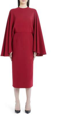 Sara Battaglia Cape Sleeve Sheath Dress