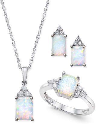 Macy's Lab-Created Opal (1-1/2 ct. t.w.) and White Sapphire (3/8 ct. t.w.) Jewelry Set in Sterling Silver