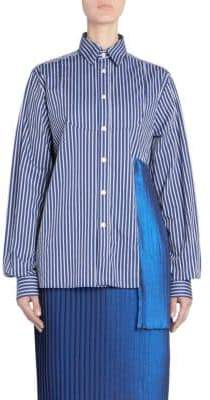 Each X Other Mixed Media Pinstripe Poplin Blouse