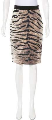 Giambattista Valli Satin Tiger Print Skirt