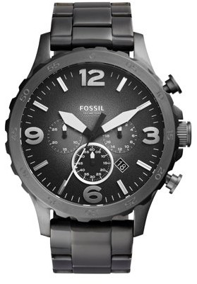 Fossil Men's Nate Chronograph Smoke Stainless Steel Watch (Style: JR1437)