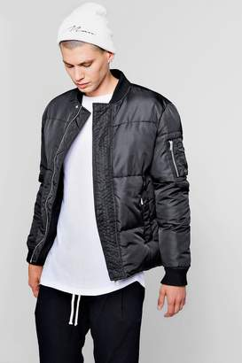 boohoo Puffer Jacket With Bomber Neck