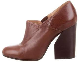Maison Margiela Leather Round-Toe Booties Brown Leather Round-Toe Booties