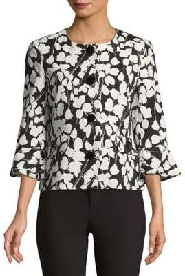 Karl Lagerfeld Paris Bell-Sleeve Floral Jacket