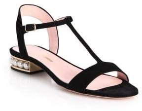 Nicholas Kirkwood Casati Pearly Heel Suede T-Strap Sandals