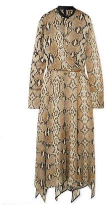 Petar Petrov Asymmetric Leather-trimmed Snake-print Silk-chiffon Midi Dress - Snake print