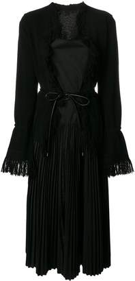 Sacai belted pleated dress