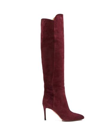 Aquazzura Gainsbourg 85 Suede Knee High Boots - Womens - Burgundy