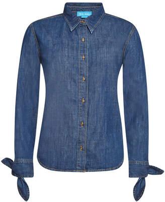 MiH Jeans Larsen Denim Shirt with Self-Tie Bows