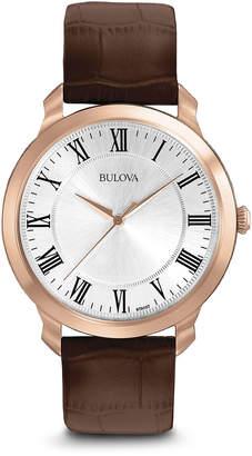 Bulova 41mm Men's Leather Watch, Brown