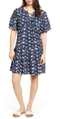 Caslon Lace-Up Neck Tiered Dress
