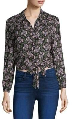 Paige Demaris Tie-Front Floral-Print Blouse