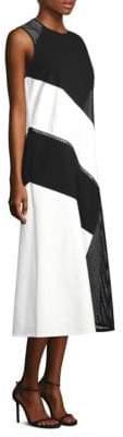 Lafayette 148 New York Nuri Laser Cut Calf-Length Dress