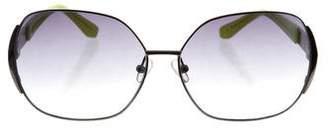 Matthew Williamson x Linda Farrow Metallic Round Sunglasses