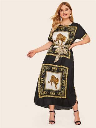 Shein Plus Animal Scarf Print Belted Maxi Tunic Dress