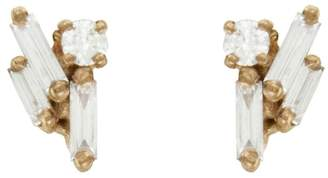 Suzanne Kalan Baguette and Round Diamond Cluster Stud Earrings - Rose Gold