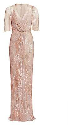 Jenny Packham Women's Embellished Tulle V-Neck Column Gown