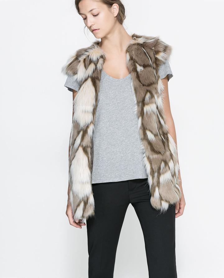 Zara Long Fur Waistcoat