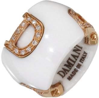 Damiani 18K Rose Gold/White Ceramic & Diamonds D.Icon Charm Pendant
