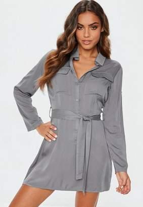 Missguided Grey Tie Waist Utility Shirt Dress