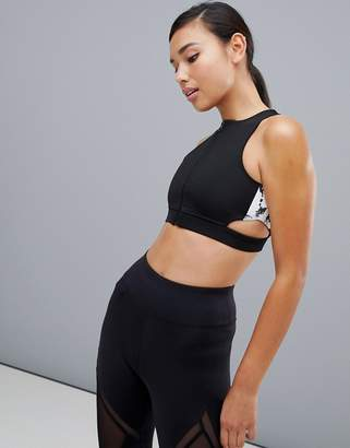 In The Style Marble Zip Front Cut Out Sports Bra