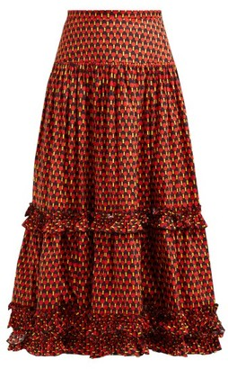 La DoubleJ Salsa Geometric Print Tiered Cotton Midi Skirt - Womens - Red Print