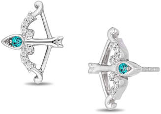 Zales Enchanted Disney Merida Blue Topaz and 1/20 CT. T.W. Diamond Bow and Arrow Stud Earrings in Sterling Silver