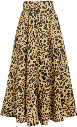 Zimmermann Veneto Leopard Linen Midi Skirt