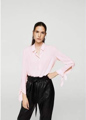 MANGO Button Up Tie Cuff Blouse - Pink