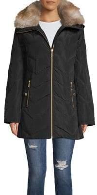MICHAEL Michael Kors Removable Faux Fur Hood Chevron Quilt Walker Coat