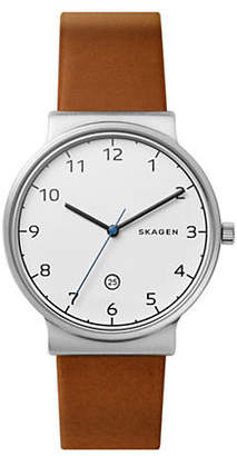Skagen Mens Three-Hand Ancher Cognac Leather Watch