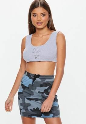 Missguided Blue Camo Raw Hem Mini Skirt