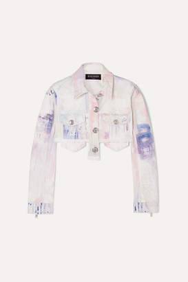 Balmain Cropped Tie-dyed Denim Jacket - White