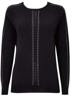 Wallis Black Sparkle Sleeve Detail Jumper