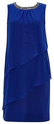 Wallis Blue Embellished Tiered Overlay Dress