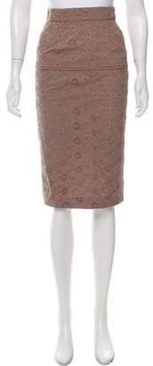 Nina Ricci Eyelet Knee-Length Skirt