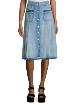 7 For All Mankind Button-Front Denim Midi Skirt $199 thestylecure.com