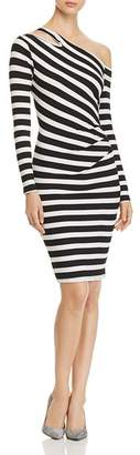 Three Dots Alpine Asymmetric-Shoulder Striped Dress
