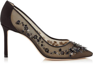 Jimmy Choo ROMY 85 Black Satin and Mesh Pointy Toe Pumps with Sequin Embroidery