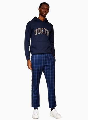 Topman Blue Reflective Check Trousers