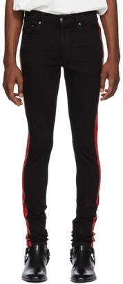 Amiri Black and Red Stack Track Jeans