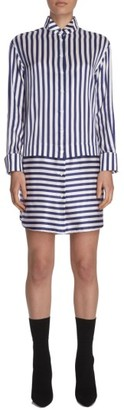 Women's Burberry Stripe Silk & Cotton Shirtdress $1,395 thestylecure.com