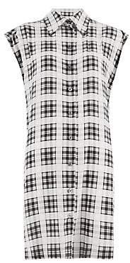 Marc Jacobs Women's Redux Grunge Plaid Washed Silk Sleeveless Shirt