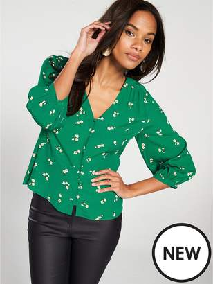 Warehouse Verity Ditsy Floral Button Front Top - Green