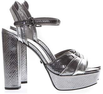 989c0383fe3 MICHAEL Michael Kors Platform Sandals In Silver Printed Reptile Leather