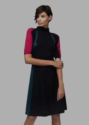 Giorgio Armani Colour-Block Knit Cashmere Flared Dress