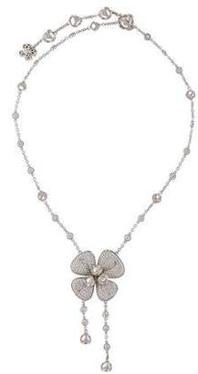 Di Modolo 18K Diamond & Pearl Floral Lavalier Necklace